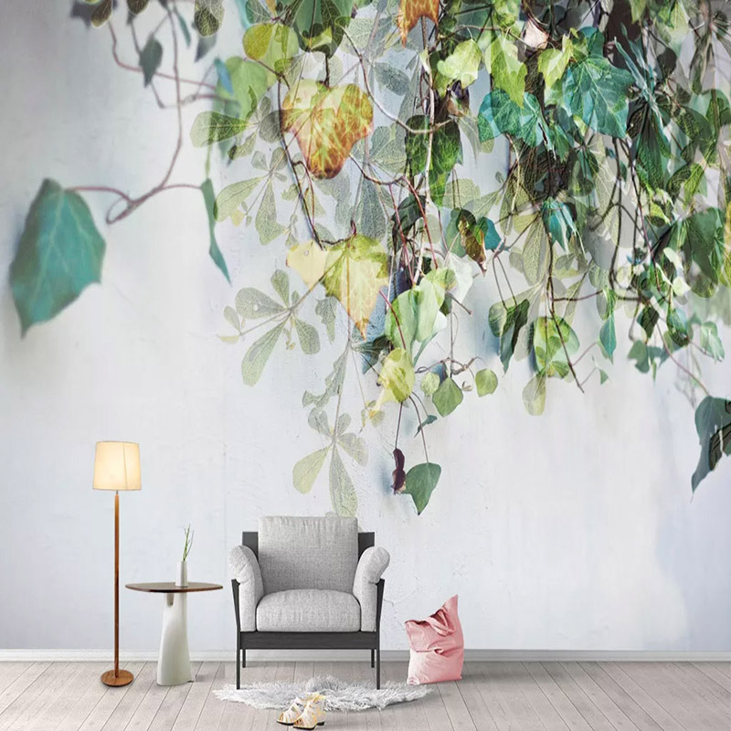 Custom Self-Adhesive Waterproof Canvas Mural Wallpaper Modern 3D Leaf Wall Fresco Living Room Bedroom Creative Art 3D Stickers