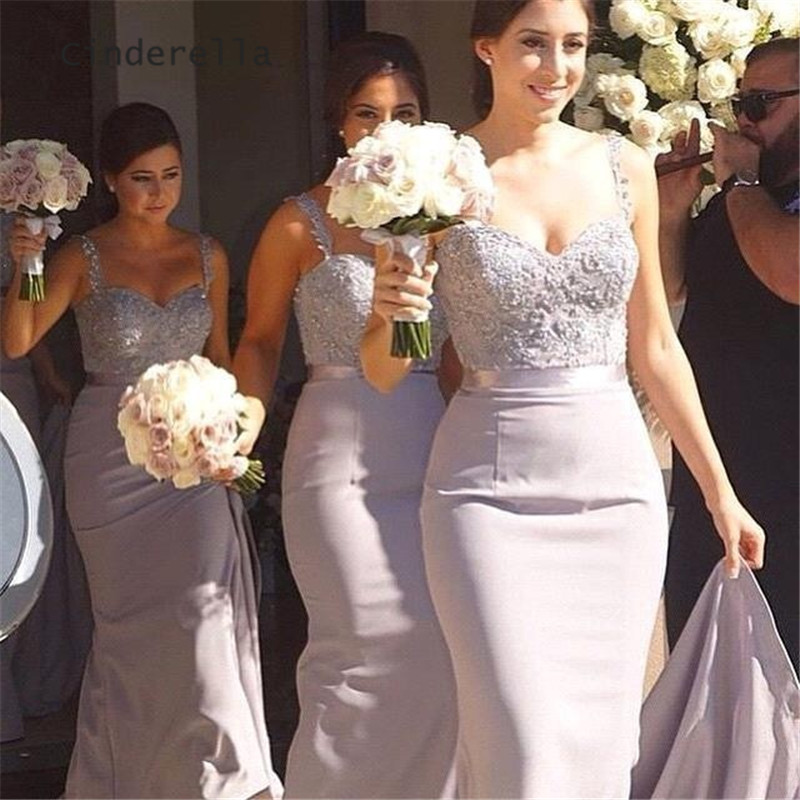 Cinderella Sweetheart Spaghetti Straps Lace Applique Crystal Beaded Satin Mermaid Bridesmaid Dresses Sexy Gowns