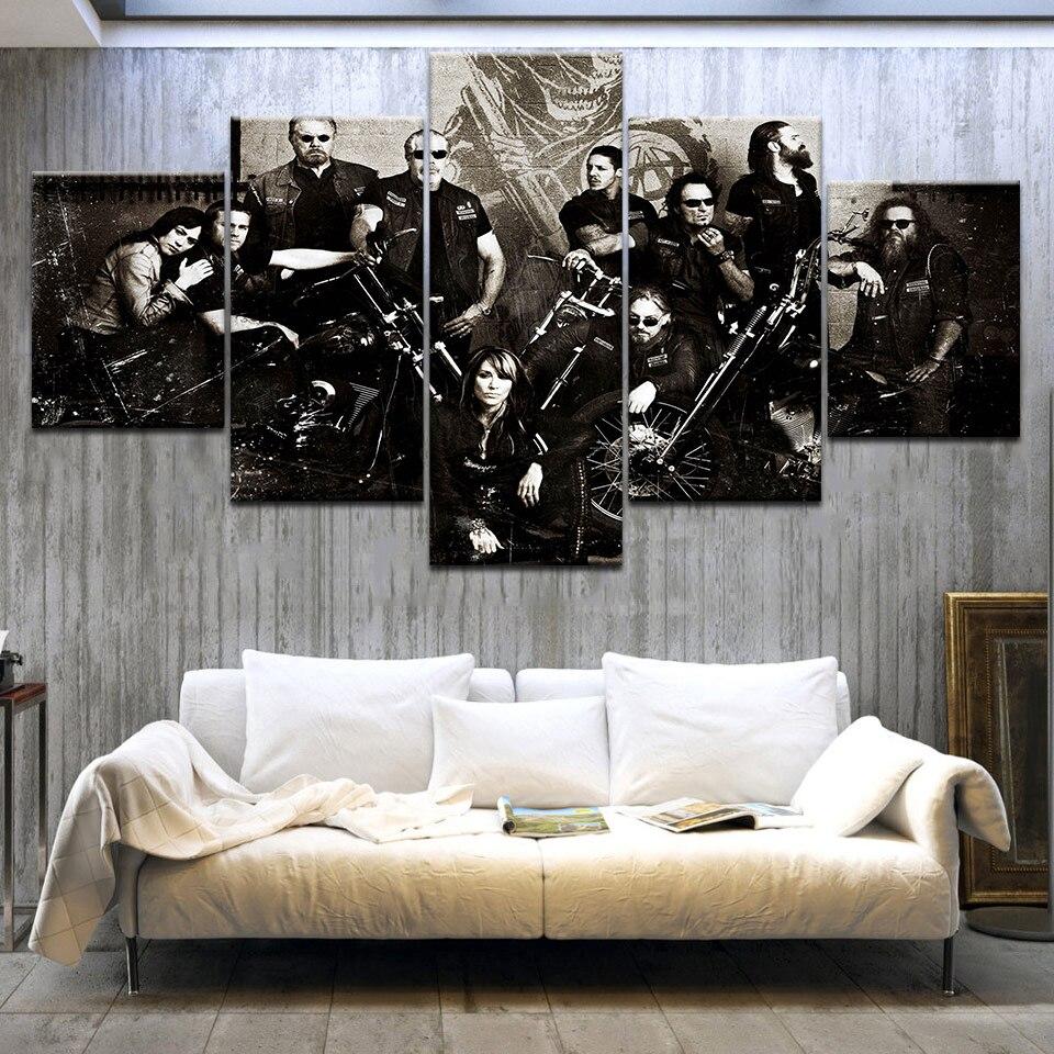 5 Panel HD Impreso Hijos de la Anarquía Serie de TV carteles de - Decoración del hogar - foto 3