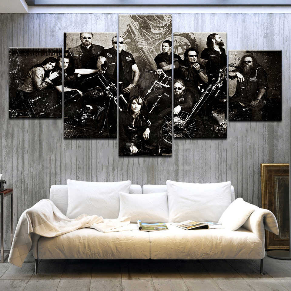 5panel Hd Printed Sons Of Anarchy Tv Series Wall Posters Print On Canvas Art Painting For Home Living Room Decoration
