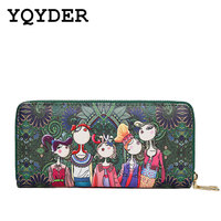 BANNINIU Women Wallet 2017 Zipper Leather Bag Crative Character Printed Wallets Long Clutch Card Holder Purse