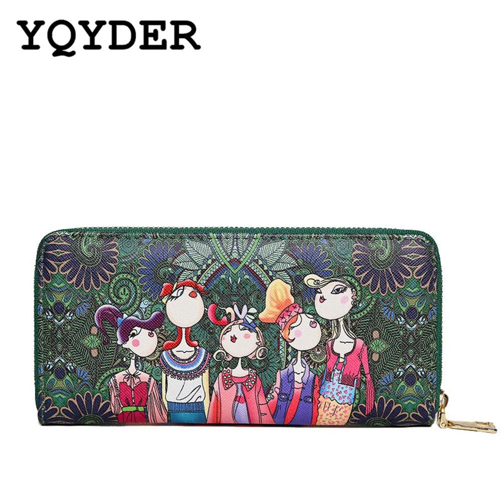 YQYDER Women Wallet 2017 Zipper Leather Bag Crative Character Printed Wallets Long Clutch Card Holder Purse Carteira Feminina