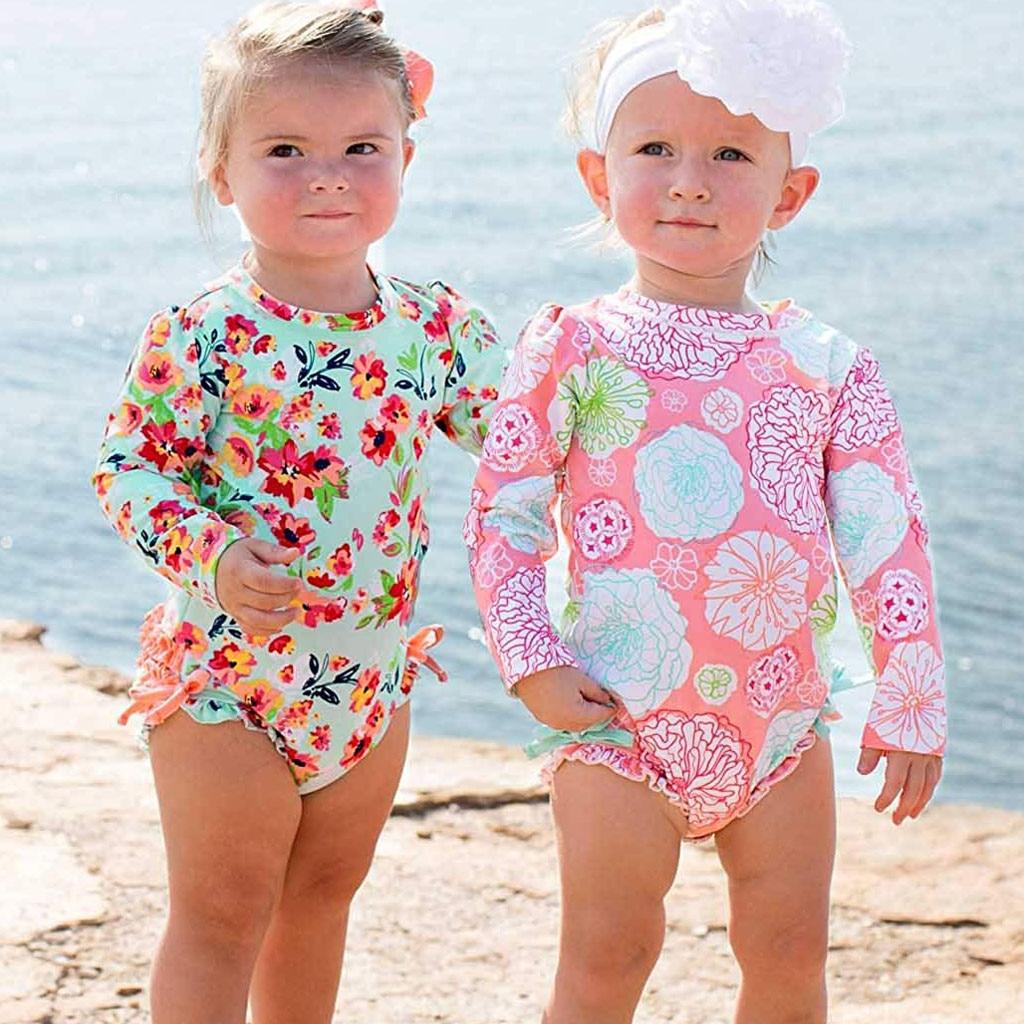2019 New Bikini Cute Swimsuit Sweet Sisters Toddler Baby Girl Kids Swimwear Floral Printed Bikini Swimsuit Beach One Piece