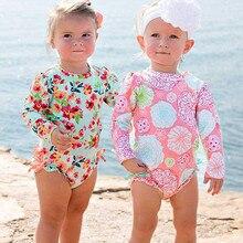 Новинка года; милый купальник-бикини для маленьких девочек; детский купальник с цветочным рисунком; купальник бикини с принтом; пляжный цельный купальник