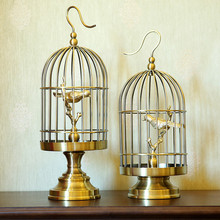 Creative classical copper birdcage statue vintage home decor crafts room decoration objects study office Metal birds figurines
