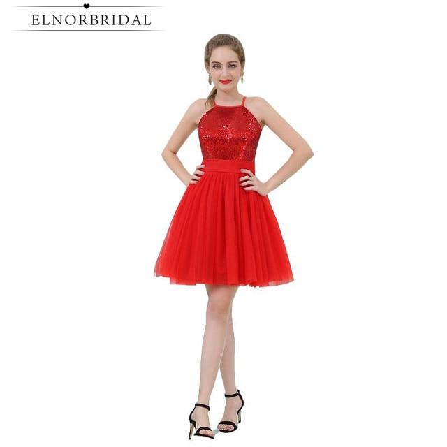 818b49983b7c Red Paillettes Abito Da Cocktail Economici 2017 Vestido Cocktail Prom  Dresses Brevi Occasioni Speciali Gilrs Homecoming
