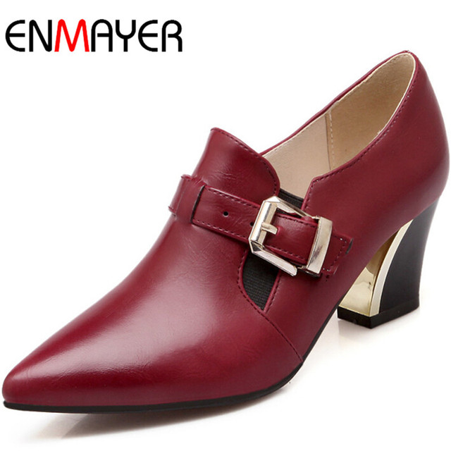 ENMAYER Shoes Women Big Size 34-43 Women Pumps Platform Pumps High Heels Fashion Pointed Toe Sexy Fashion Party Shoes Women