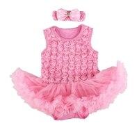 الصيف الوردي 3d روز الطفل اللباس الرباط تنورات عقال macacao روبا بيبي الوليد طفلة رومبير الرضع الملابس