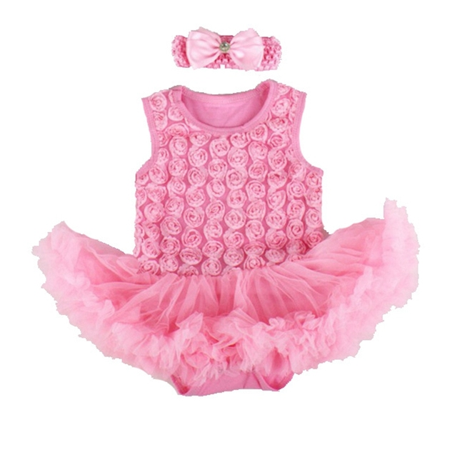 ebcc9c0d9 Summer Pink 3D Rose Baby Rompers Dress Lace Tutus Headband Macacao ...