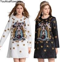 YouMustKnowMe дизайнерские платья взлетно посадочной полосы 2018 высокого качества Длинные Рукава Винтажные Мадонна вышивкой пайетками Мини Черны