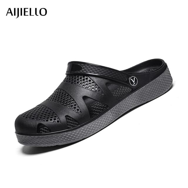 74d6a28921d4 2018 New Men s Croc Outdoor Sandals Flip-flop Sport Shoes Male Summer Flat  Breathable Light Slip-on Beach Outdoor Slippers