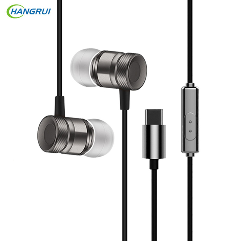 HANGRUI Metal Type-C In Ear Earphone Heavy Bass Headset Stereo Wired Control Earbud With Mic For letv Xiaomi Mi 6 fone de ouvido rock y10 stereo headphone earphone microphone stereo bass wired headset for music computer game with mic