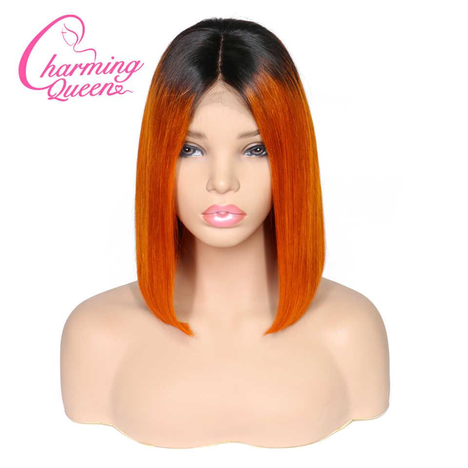 Парики из натуральных волос на кружевном фронте, короткие волосы, Омбре, парик 1B/оранжевый для черных женщин с детскими волосами, предварительно отсоединенные, Очаровательная королева