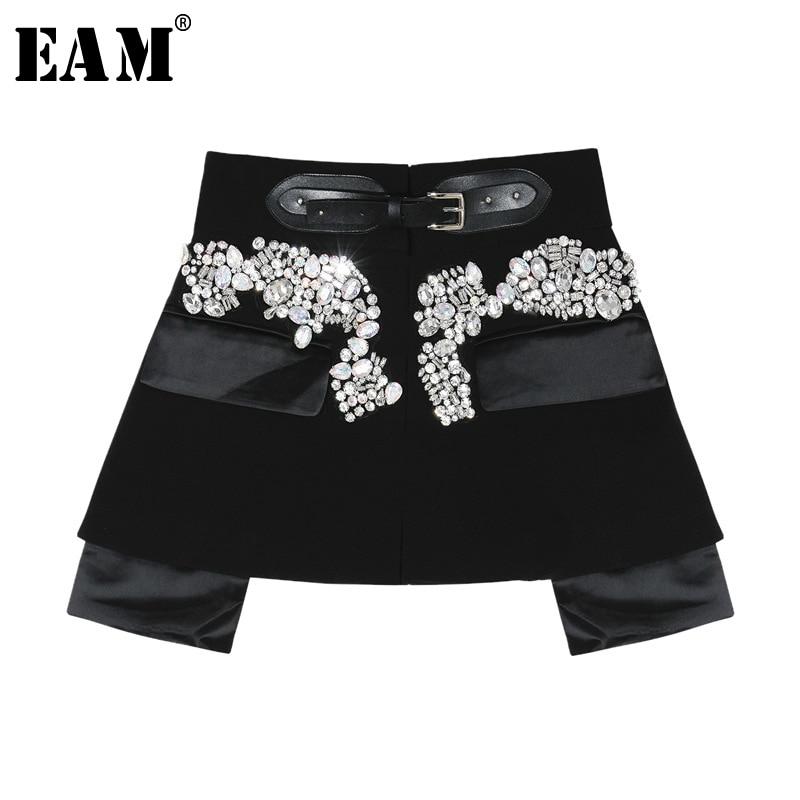 [EAM] 2020 New Spring Autumn High Waist Black Beading Blingbling Spliced Personality Short Half-body Skirt Women Fashion JY758