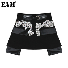 [EAM] 2020 New Spring Autumn High Waist Black Beading Blingbling Spliced Personality Short Half body Skirt Women Fashion JY758