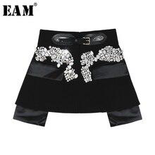 [EAM] 2020 nowa wiosna jesień wysoka talia czarny frezowanie Blingbling łączone osobowości krótki pół body spódnica kobiety moda JY758