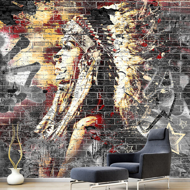 Custom Wallpaper Murals 3D Graffiti Art Wood Grain Brick Wall Mural Retro Characteristic Cafe Restaurant Wall Covering Wallpaper