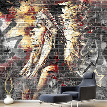 Custom Wallpaper Murals 3D Graffiti Art Wood Grain Brick Wall