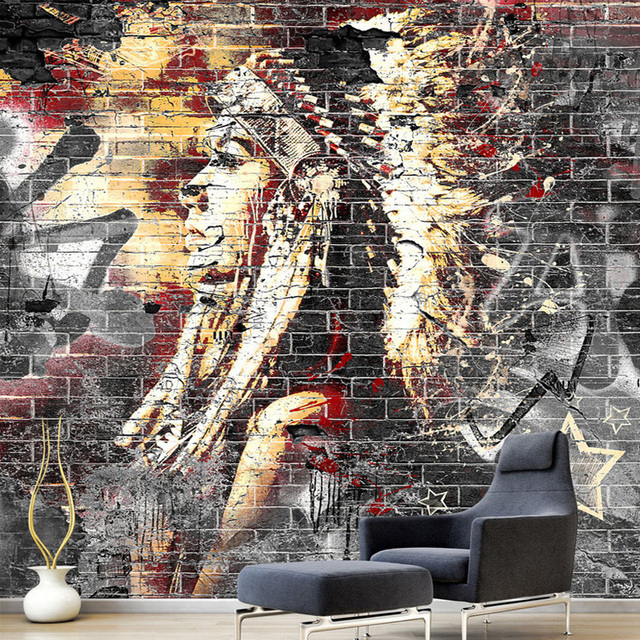 Custom wallpaper murals 3d graffiti art wood grain brick for Custom mural wall covering