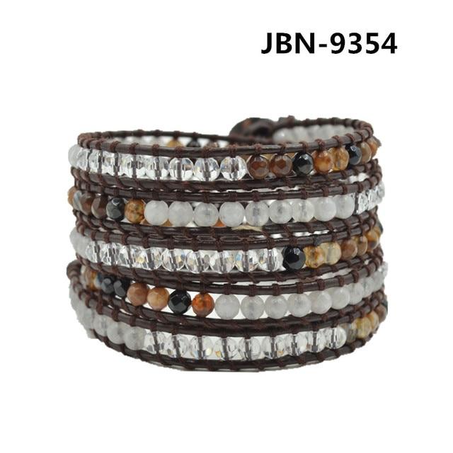 Women's Men's Fashion Multi-Layers agate and crystal beads handmade Leather wraps Bangle Bracelet pulseras JBN-9354