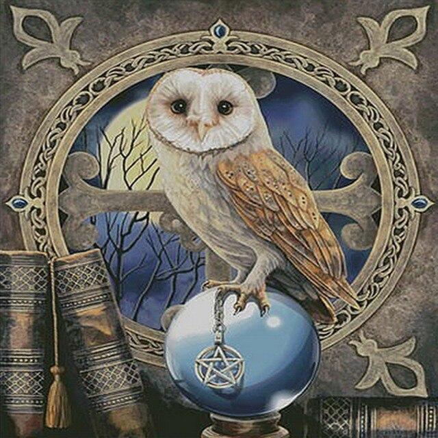 Diamante Bordado búho mosaico pintura en la campana foamiran pintura ...
