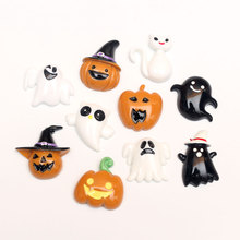 LF 20Pcs Mixed Resin Halloween Pumpkin Skull Decoration Crafts Flatback Cabochon Embellishments For Scrapbooking Diy Accessories