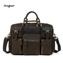Vintage Genuine Leather Briefcase for Men Leather Laptop Bag Men Business Bag Attache Case Suitcases Hombres Maletin Portatil