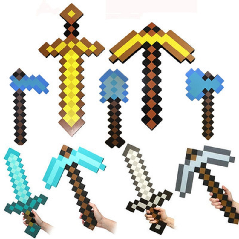Minecraft Sword Gun Axe Minecraft Weapon Toys 22 styles Plastic Minecraft Figures Game Props Model Gift Toys for Children #E newest how to train your dragon 2 action cosplay weapons fire sword axe buckler toys for children brinquedos kids minecraft toys