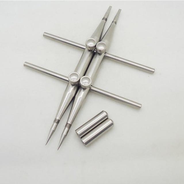 Приспособление с 2 винтовыми фиксирующими наконечниками, профессиональный гаечный ключ из нержавеющей стали, инструмент для ремонта линз, один заостренный наконечник и один плоский наконечник