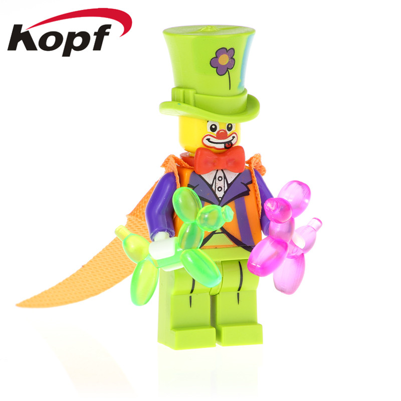 PG1249 Circus Clown Animal Balloon Building Blocks Bricks Gifts For Girls Funny Doll Figure Collection Model Toys For Children