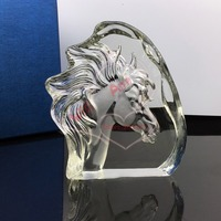 Free Shipping Handmade Horse Head Laser Crystal Business Souvenirs Glass Horse Iceberg