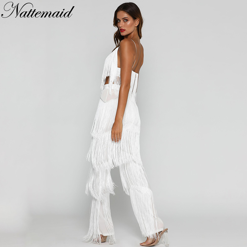 e25948c0b5e0 NATTEMAID Backless V Neck 2018 Summer Two Piece Set Women Crop Top And  Pants Sexy Set