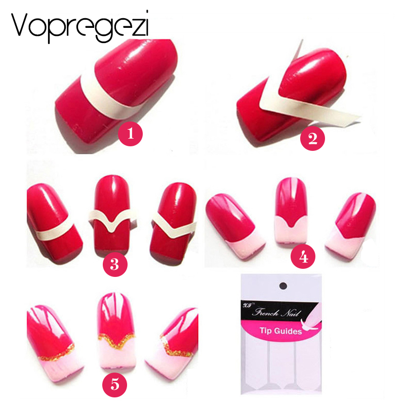 Vopregezi Nail Art Sticker DIY Guides Stickers Nail Design Stencil Tips Manicure Nail Art Decorations Makeup Tools Accessoires in Stickers Decals from Beauty Health