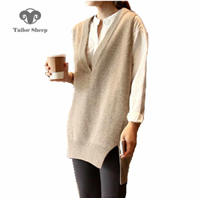 2019 новейший жилет женский передний короткий задний длинный стиль без рукавов средней длины v-образный вырез Свободная куртка Женский пуловер