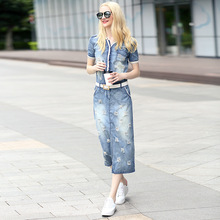 Summer New Arrival Women Denim Casual Dress 2016 V Collar Short Sleeve Plus Size Jeans Dresses Vestidos Femininos