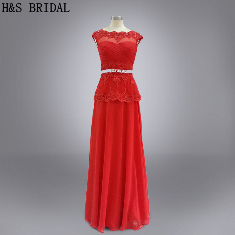 Real photo Formal evening gown long chiffon red lace cap sleeves beading belt evening dresses vestidos
