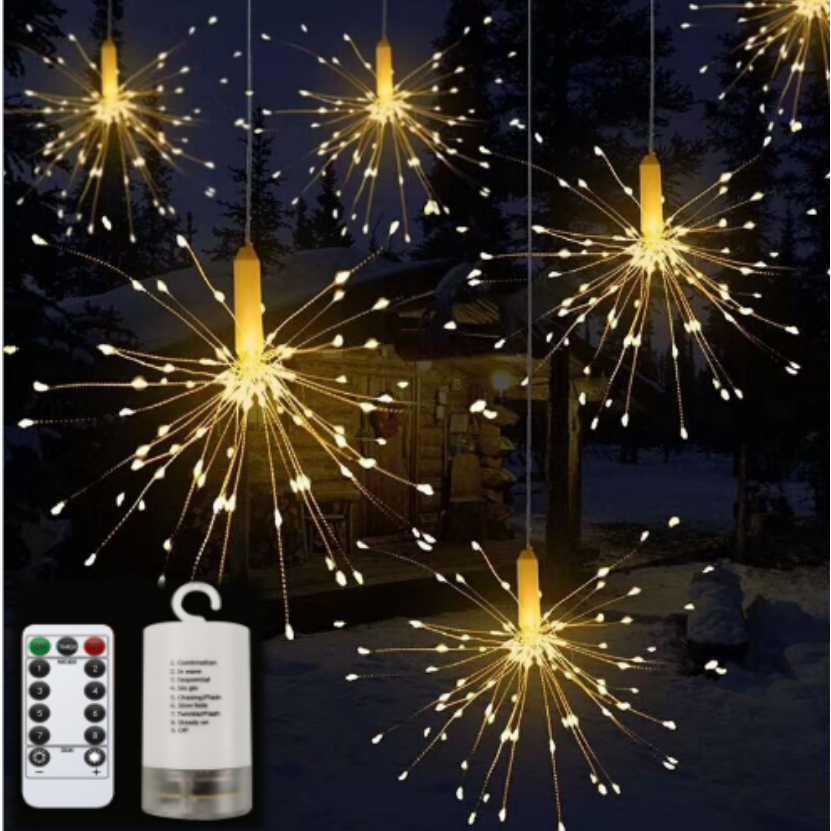 Antikue Diy Vuurwerk Led Fairy String Light Opvouwbare Batterij Aangedreven Vuurwerk Garland Light Voor Outdoor Kerst Decoratie