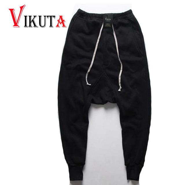 Vikuta hombres pantalones Casuales pantalones de harén pantalones de los hombres de moda negro botín gota entrepierna hip hop danza sweat pants pantalones deportivos para hombres VC2933