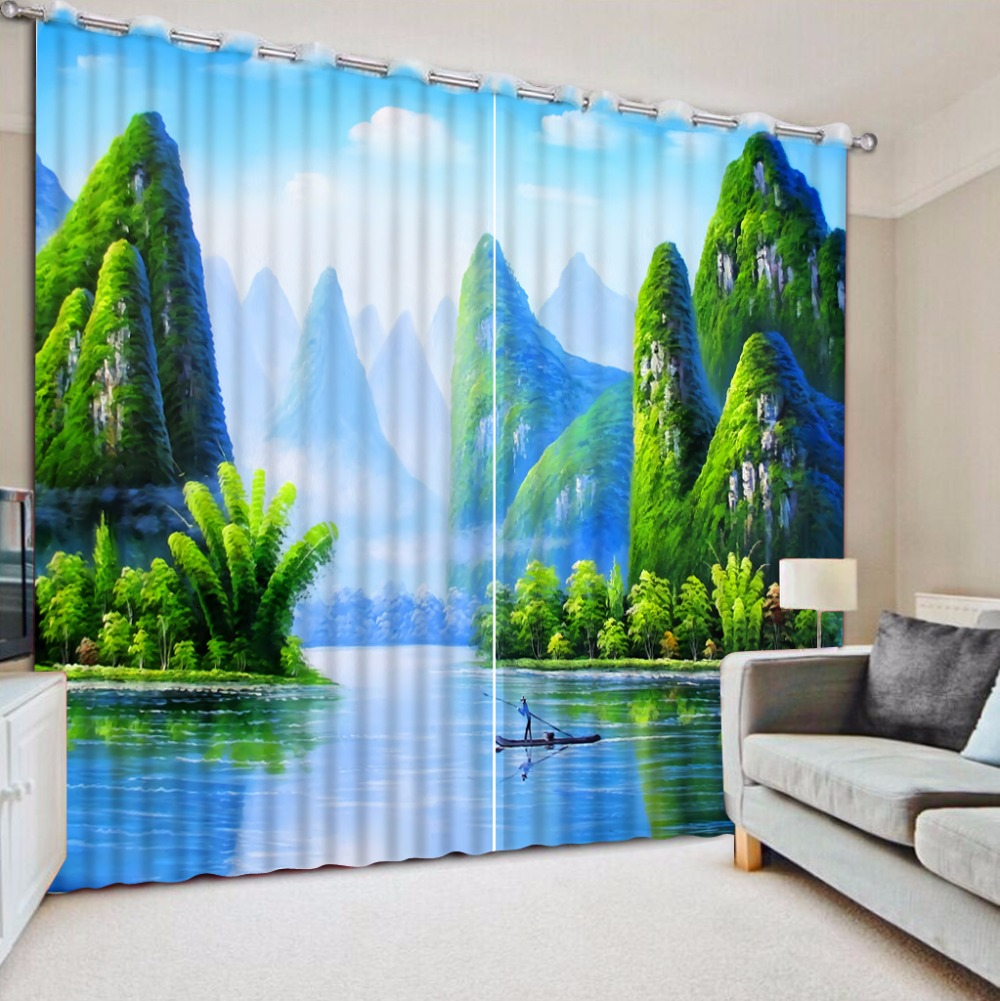 Chinese Luxury Curtains Beautiful mountain water Curtain For Window Decoration Blackout Living Room Window Drapes Chinese Luxury Curtains Beautiful mountain water Curtain For Window Decoration Blackout Living Room Window Drapes