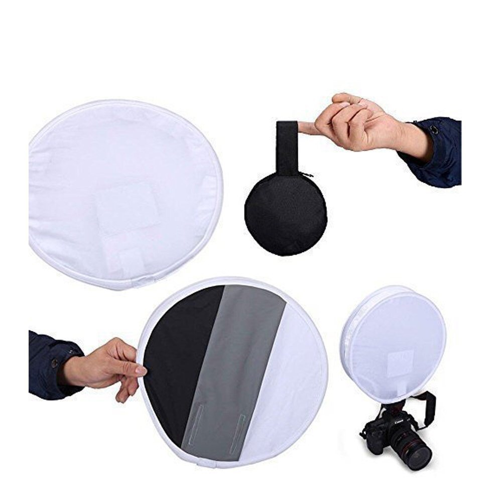 12/30cm 3-Color Balanced Portable Mini Round Soft Box Diffuser Gray Card for Cannon/Nikon/Neewer/Yunnuo/Altura Flashes