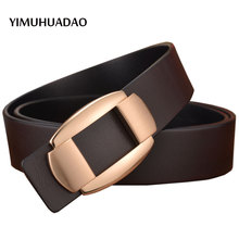Vogue Informal Waist Feminine Belt New Designer Luxurious Model belts for Males High layer Real Leather-based strap Denims Ladies Buckle Male