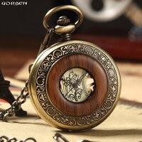 Горячие ретро роскошь дерева круг Скелет карманные часы для мужчин и женщин унисекс Механическая ручным подзаводом римские цифры ожерелье ...