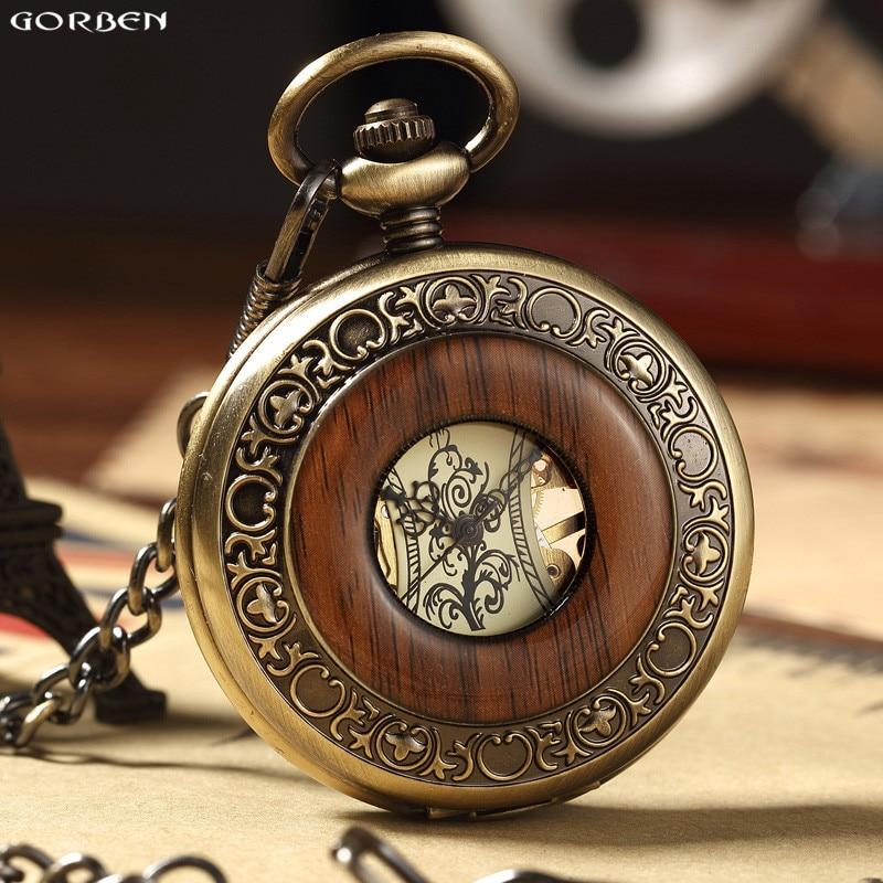Hot Retro Luxury Wood Circle Skeleton Pocket Watch Men Women Unisex Mechanical Hand-winding Roman Numerals Necklace Watch Gift