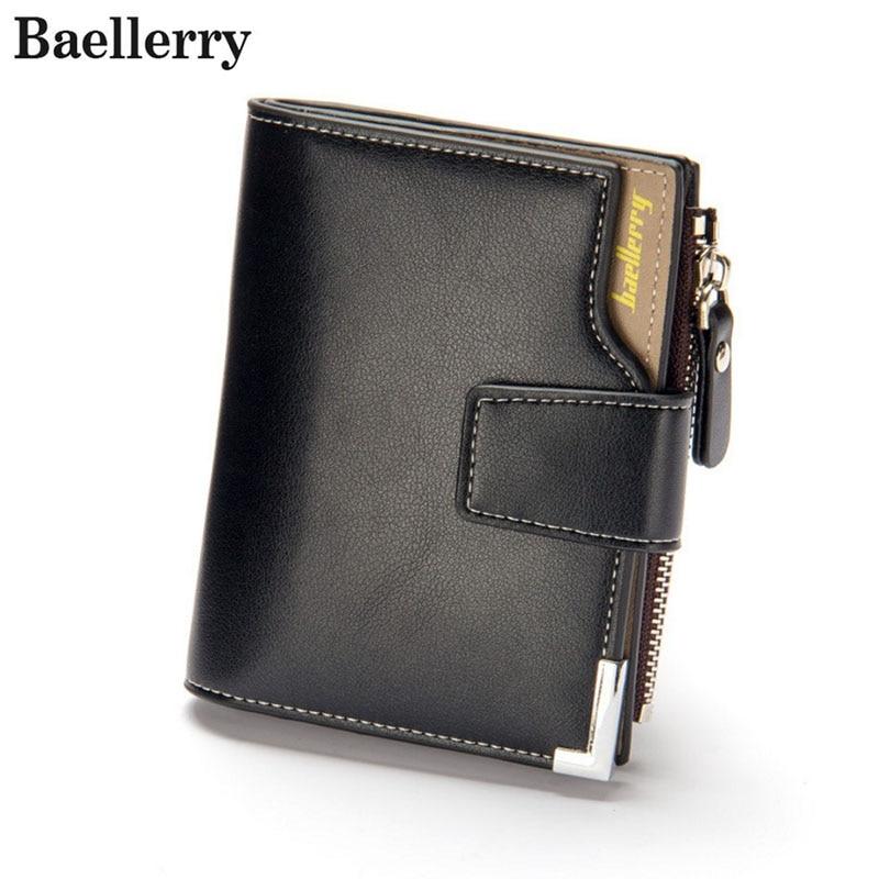 Baellerry Business Short Men Wallets PU Leather Male Hasp Purse Card Holder Wallet Men Soft Zipper Wallet With Coin Bag Clutch
