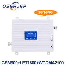 LCD Display 2G 3G 4G Tri Band GSM 900/DCS LTE 1800/WCDMA UMTS 2100 MHz Mobile Signal Repeater Amlifier without antenna(China)