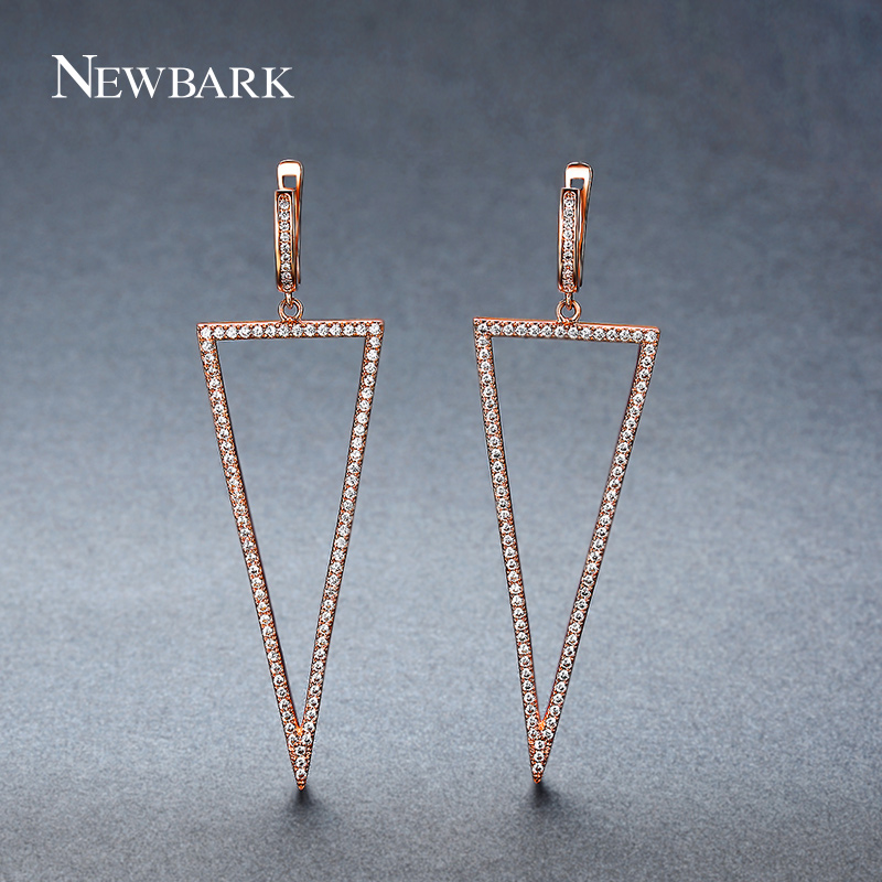 NEWBARK Girl Fashion Earring Personality Rose Gold Color Simple Geometric Triangle Dangle Earrings Gift For Women