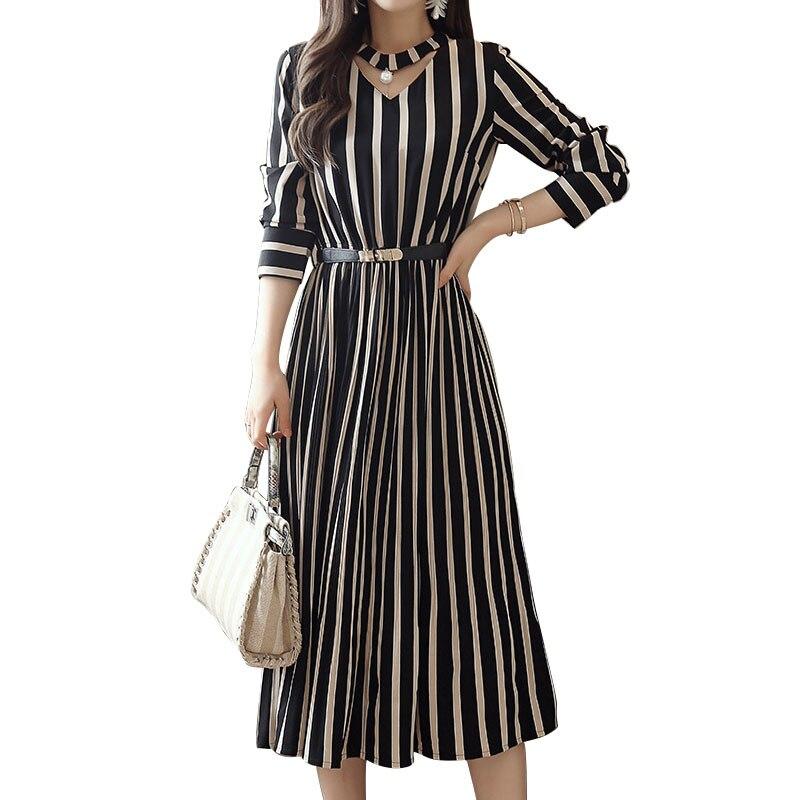 Striped Dress With Blet Womens Elegant Dresses Long Sleeve Vestidos 2019 Summer A Line Midi Long