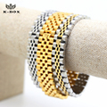 """Stainless Steel Yellow/White Gold Plated Crown President Mens Bracelets Hip Hop Watch Link Bracelet 13mm 7.9""""in K-Box Jewelry"""