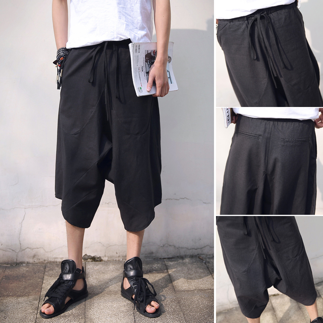 Punk rock dos homens de cânhamo linho wide-legged calças harem baggy trousers casual 7 minutos de calças
