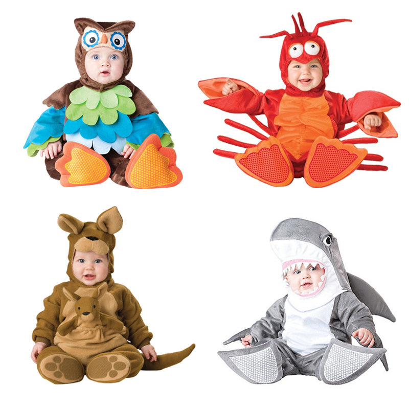 Baby Christmas Halloween Cosplay Costume Animal Shark Lobster Kangaroo Rompers Jumpsuit Boys Girls Clothes Set Kids Outfits kids boys pilot costume cosplay halloween set for children fantasia disfraces game uniforms boys military air force jumpsuit